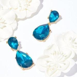 BLUE LARGE TEARDROP POST EARRINGS